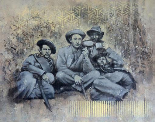 SMOKERS - acrylique, pigment, spray paint et huile sur bois -40x50 cm