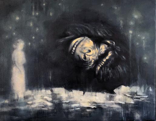 DEATH OF KING -  acrylique et huile sur toile - 40x50 cm