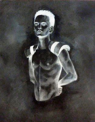 MAN IN BLACK - acrylique et huile sur toile 40x50 cm