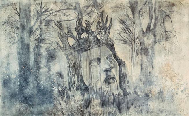 SPIRIT OF WOODS - huile sur toile -100x60 cm