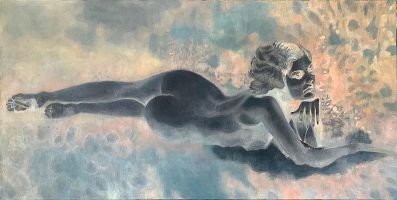 SUBMARINE VENUS - acrylique et huile sur toile - 80x40 cm