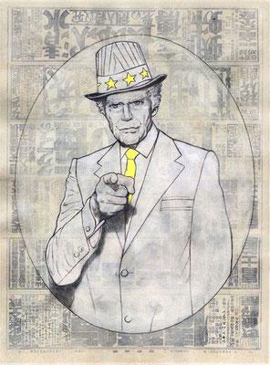 I WANT YOU - graphite, gesso, acrylique et jet d'encre sur papier -35x 47 cm