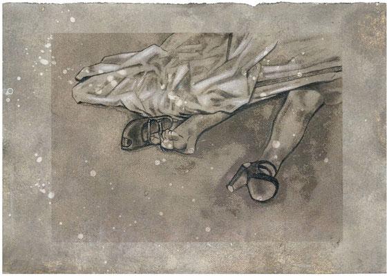 FAIT DIVERS I - graphite, acrylique, pigment sur papier - 40x 40 cm