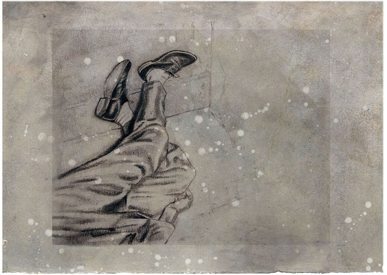 FAIT DIVERS II - graphite, acrylique, pigment sur papier - 40x 40 cm