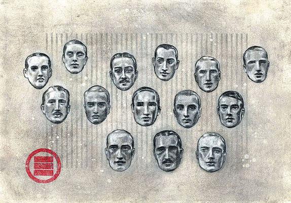 PROFILES - graphite, acrylique et gesso sur papier -30x42cm
