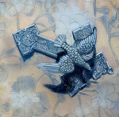 PRAYER BIRD -2018 - acrylique et huile sur toile - 30x30 cm