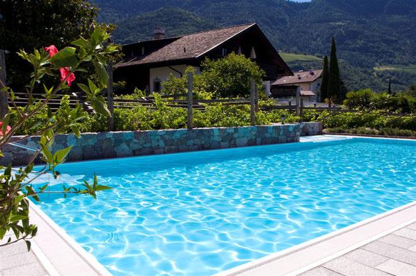 S&K GmbH Jacuzzi Whirlpool - Ein Schwimmbecken im Hintergrund Berge und Häuser