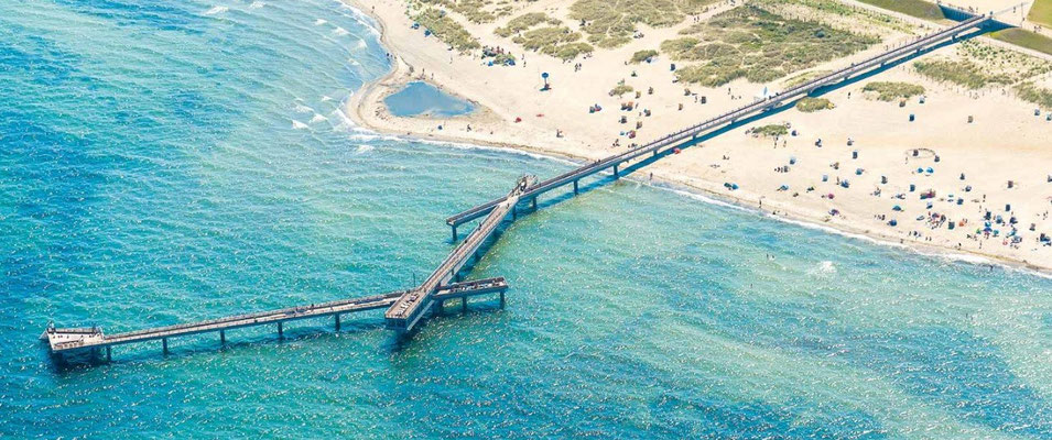 Seebrücke, Sandstrand, Steilküste, Yachthafen, Promenaden, Altstadt,....