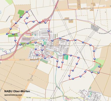 Vom GPS aufgezeichnete Wanderstrecke rund um Dorheim