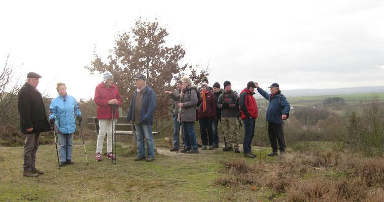 Der hochgelegene Teil der Hölle von Rockenberg ist ein Magerrasenareal bewachsen mit Besenheide. Von dort können die Ausflügler über die nördliche Wetterau blicken.