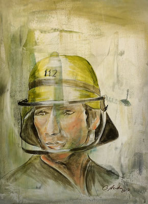Well guarded... as a firefighter, 60x80cm, 2017