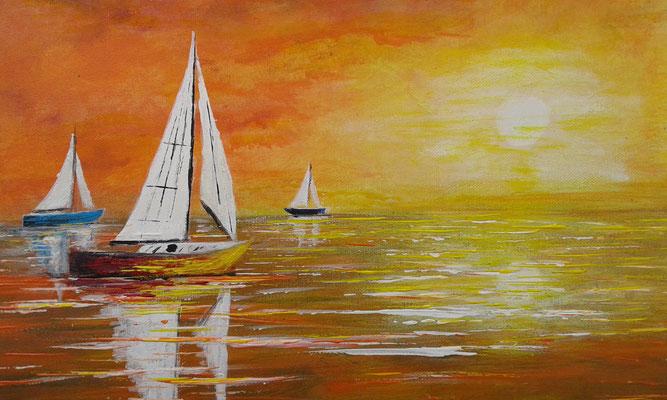 Marine acrylique tableau de l'artiste peintre Bernard Legros à Perpignan