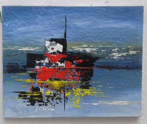 Tableau abstrait acrylique et huile de l'artiste peintre Bernard Legros à Perpignan
