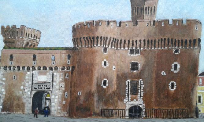 Castillet à Perpignan peinture de Bernard Legros