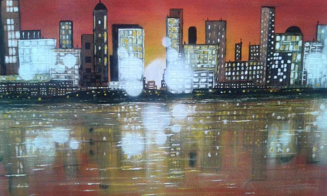 ville et ses reflets de l'artiste peintre Bernard Legros à Perpignan