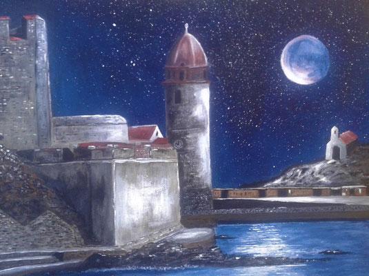 Collioure de nuit, tableau acrylique de l'artiste peintre Bernard Legros à Perpignan