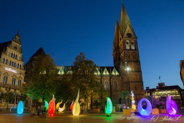 DOMSHOF UND Bremer St. Petri Dom mit Lichtinstallation