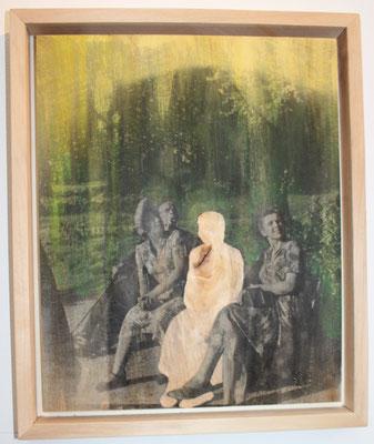 """Invisible Frau Papenfuß"" Lindenholz, Acryl, Fototechnik  44.5 cm x 34 cm"