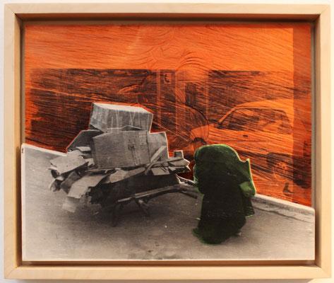 """""""Recyclingman""""  Lindenholz, Acryl, Fototechnik  41 cm x 48 cm"""