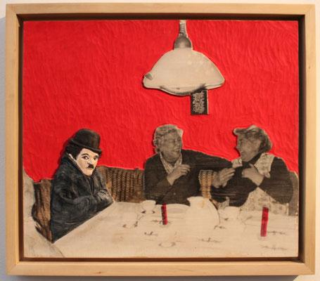 """""""Funnyman""""  Lindenholz, Acryl, Fototechnik  40 cm x 46 cm"""