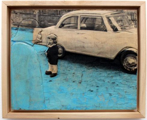 """""""Nein du bist nicht mein Vater""""  Lindenholz, Acryl, Fototechnik  35 cm x 42 cm"""