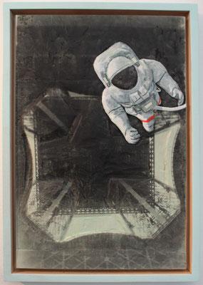 """Spaceman""  Lindenholz, Acryl, Fototechnik  56 cm x 38 cm"