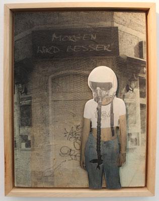 """Morgen wird besser"" Lindenholz, Acryl, Fototechnik  42 cm 54,5 cm"