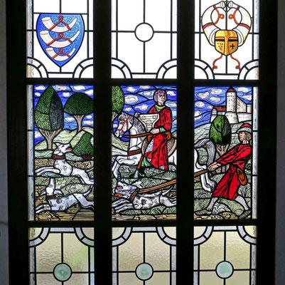 """© Traudi - Buntglasfenster im Restaurant """"Schöne Aussicht"""" in der ehem. Burganlage"""