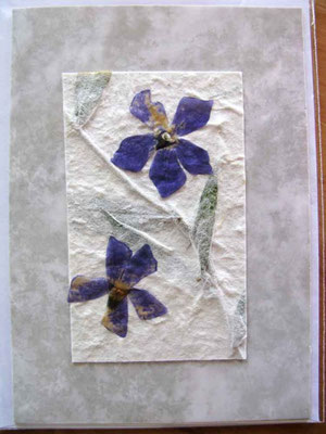 © Traudi - 2014 - Blüten auf selbst geschöpftem Papier