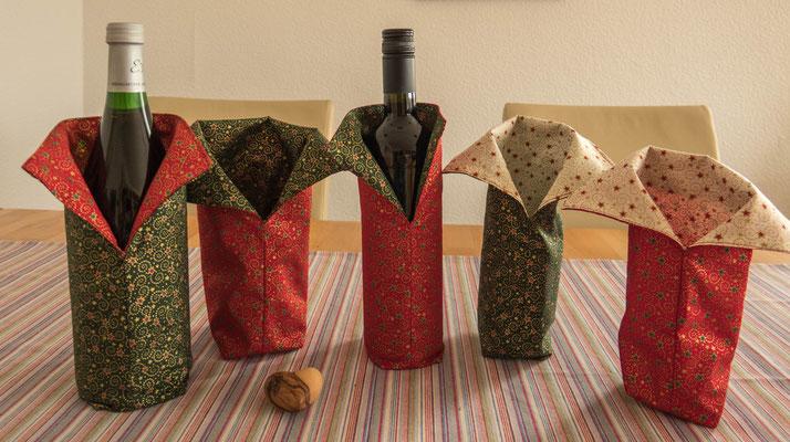 © Traudi - September 2017 - Flaschenmäntelchen für Weihnachten