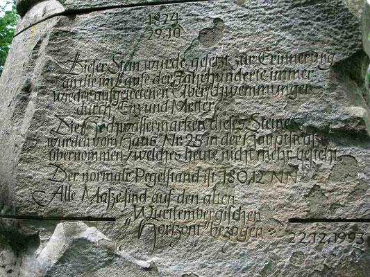09.06.2010 (c) Traudi  -  Zur Landesgartenschau 1989 wurde dieser Hochwasserstein gestiftet, der einige überlieferte Hochwasserstände anzeigt.
