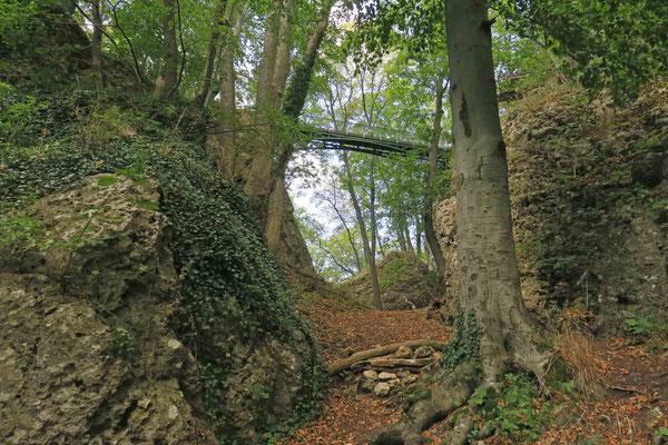© Traudi - Der tiefe Graben wird von einem eisernen Steg überspannt.