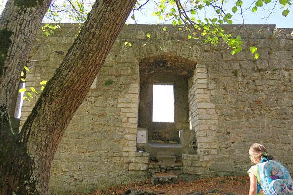 © Traudi - An dem Mauerrest mit vier Fenstern kann man sich vorstellen, wie es hier früher einmal eingesehen haben könnte. Auf dieser früheren Spornburg gab es unter anderem einen Palas, eine Zisterne, ein Verlies und einen Zwinger.