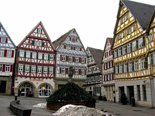 © Traudi - 2012 - Der Marktbrunnen aus dem Jahr 1347 versorgte die Stadt mit Wasser. Das Württemberger Wappen und ein Löwe sind dort abgebildet.