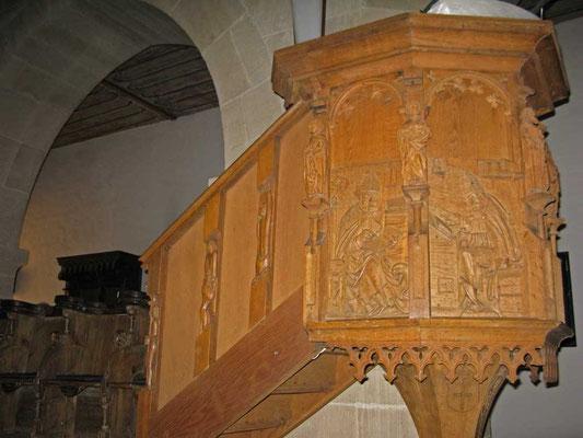 Kloster Denkendorf, Kanzel (1517) mit 5 spätgotischen Reliefplatten - © Traudi