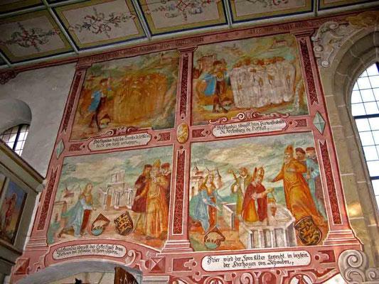 ©Traudi *** Ulrichskapelle, Wandmalereien mit Darstellungen vom Bau der Klosterkirche (die nicht mehr besteht)