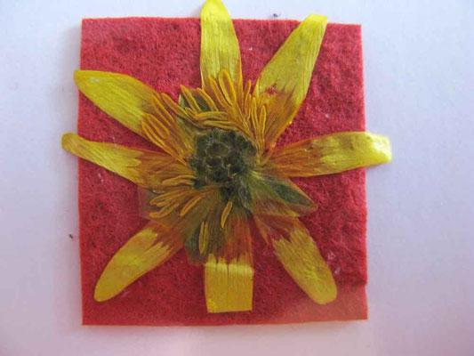 © Traudi - 2014 - Blüten auf geschöpftem Papier  -   Kleine Blüte - ganz groß