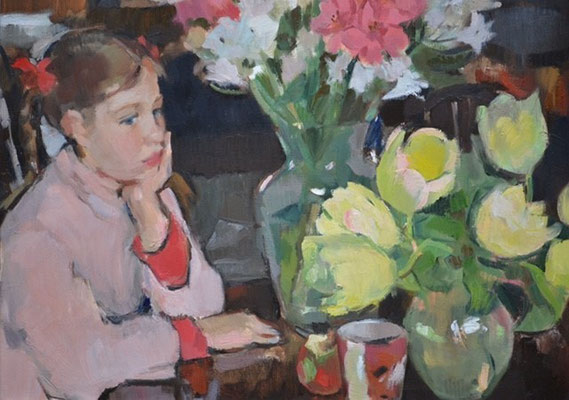 Julia Hawkins 'Girl with tulips'