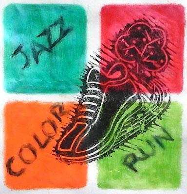 projet de logo pour la Jazz colore 2017 (linogravure et peinture acrylique)