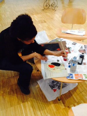 réalisation d'une gravure lors de la nuit des musées 2015 (oeuvre participative)