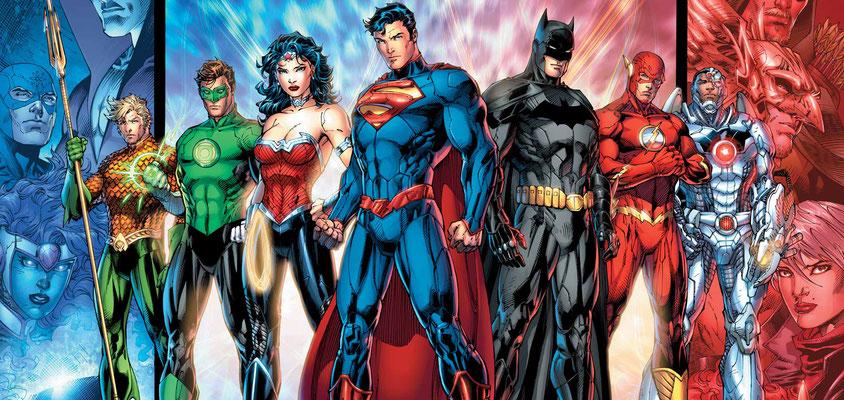 Die Gerechtigkeitsliga aus den Comics. Hmmm... der Green Lantern-Flop scheint wirklich schwerwiegend gewesen zu sein!