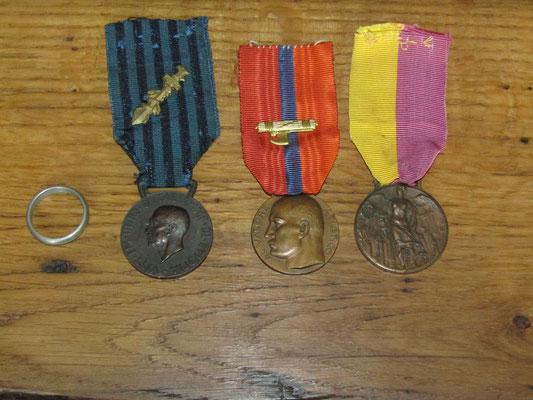 Oro della patria - Medaglia fascista colonie - Medaglia olimpionica fascismo - Medaglia marcia su Roma