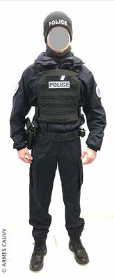 Uniforme Police coupe vent + gilet balistique + bonnet