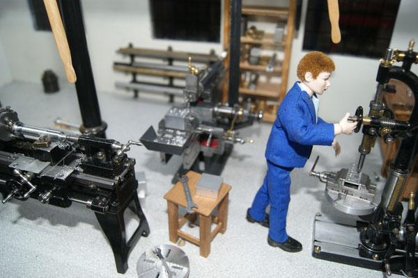 Drehmaschine, Hobelmaschine und Bohrmaschine - Alles in 1:12 und funktionsfähig