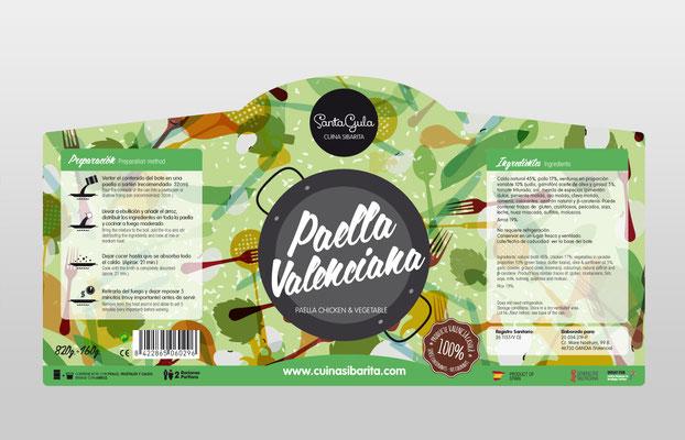 etiqueta, paella valenciana, gandia, santagula, cuina sibarita, souvenir, delicatesen