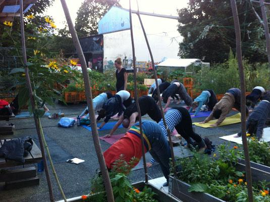 Yoga für alle auf dem Gartendeck St. Pauli