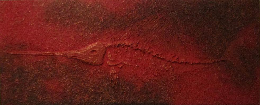 Schwertfisch // Größe 2,00 x 0,90 m  -   Sandwelten // Frank Walter - Bilder aus Sand auf Leinwand mit Acrylfarbe