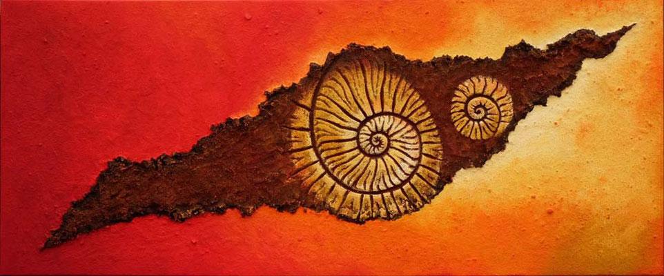 Ammonit gold // 1,70 x 0,70 m  -   Sandwelten // Frank Walter - Bilder aus Sand auf Leinwand mit Acrylfarbe