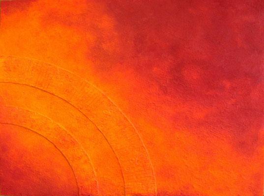 Sonnenscheibe // Größe 1,50 x 1,20 m  -   Sandwelten // Frank Walter - Bilder aus Sand auf Leinwand mit Acrylfarbe