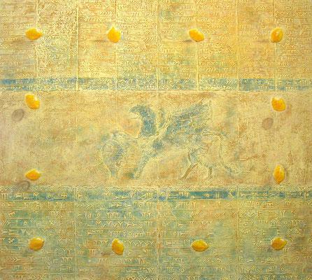 Mosaik // Größe 1,70 x 1,50 m  -   Sandwelten // Frank Walter - Bilder aus Sand auf Leinwand mit Acrylfarbe